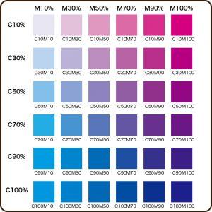 C版とM版カラーチャート